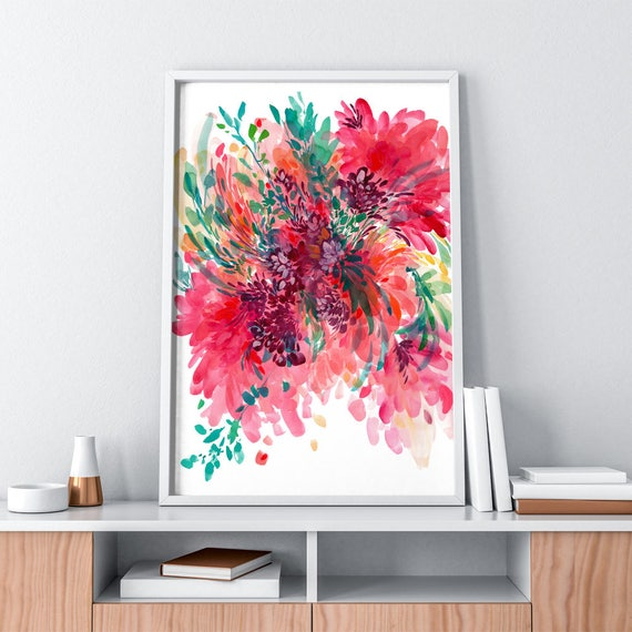 Large Floral Wall Art. Wall Art Prints. Contemporary Modern