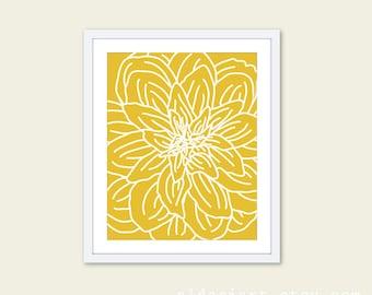 Modern Flower Print - Mustard Yellow and White - Flower Wall Art  - Spring Decor - Under 20
