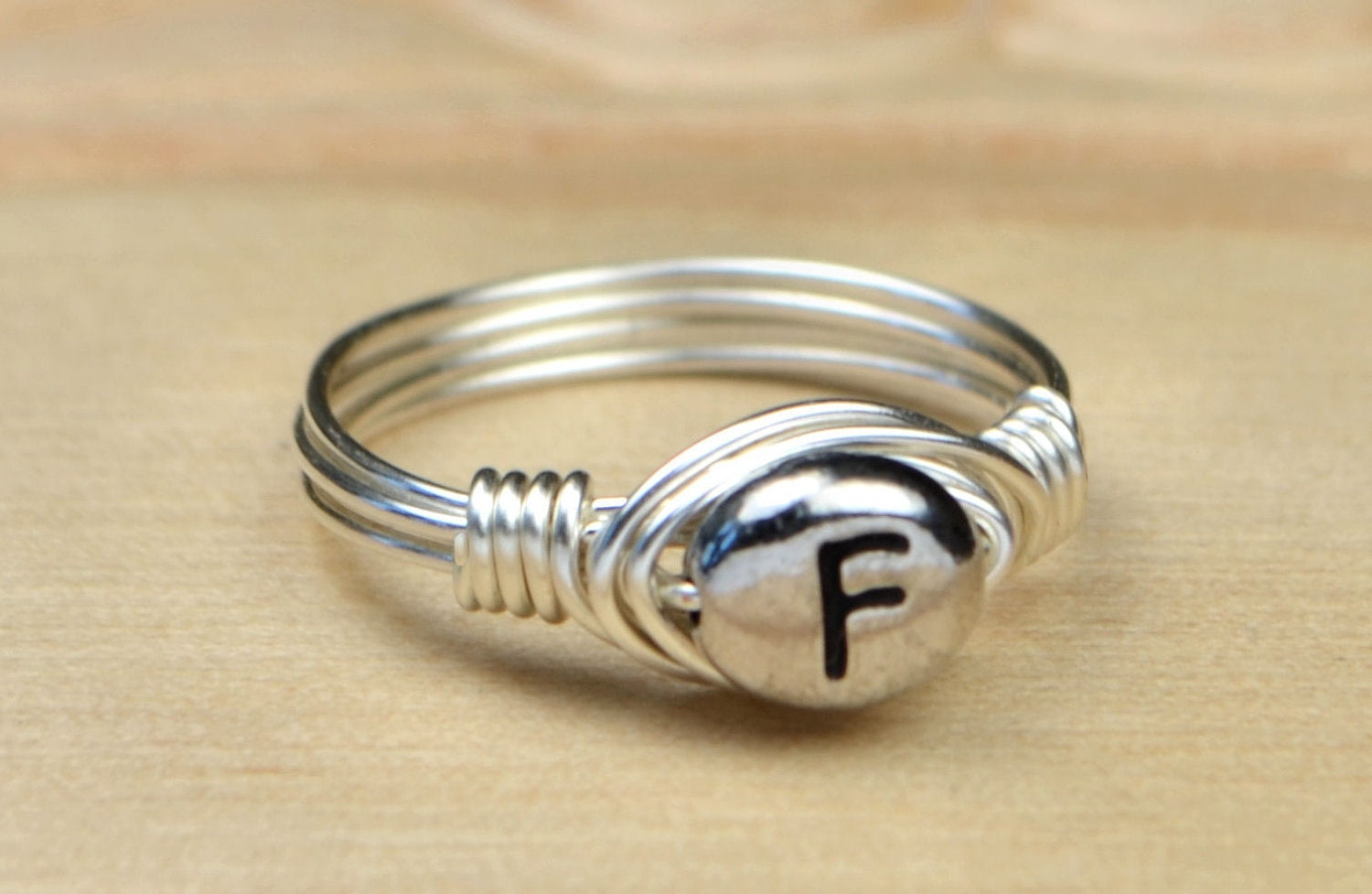 Letter F Monogram Ring Sterling Silver Filled Wire Wrapped