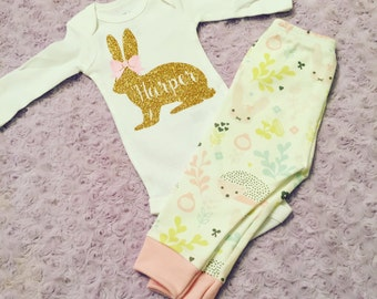 Easter Outfit. Baby's first Easter. Baby girl Easter. Easter leggings. First Easter. Pick your color.