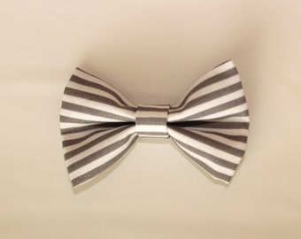 Straight Line to Spring--Gray and White Stripes--Gray and White Bow--Clip or Nylon Headband