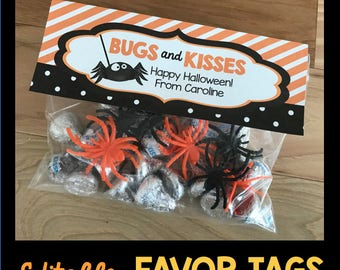 50% OFF SALE Bugs and Kisses Halloween Baggie Toppers - Favor Tags - Editable - Instant Download - Spiders - Treats