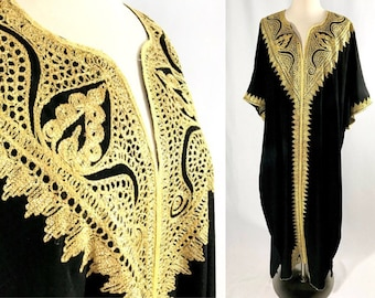 Black and Gold Embroidered Kaftan | Authentic Kaftan || Gold Embroidery || Vintage Clothing