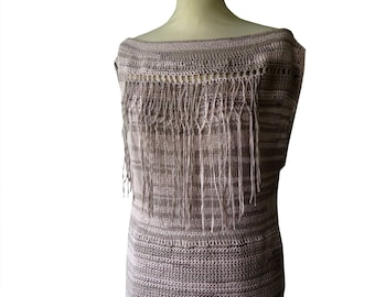 Sweater pink beige fringes made Bryll hand