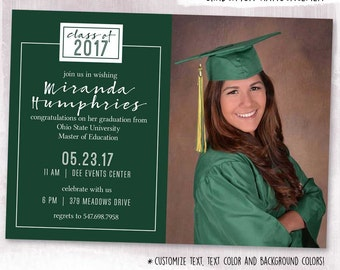 DIGITAL or PRINTED, Photo Graduation Card, grad announcement, graduation invite, typography, photograph, custom text, custom color