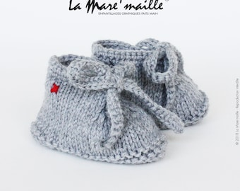 Slippers gray wool knit baby style sneakers with lace knitted hand de La Mare' mesh