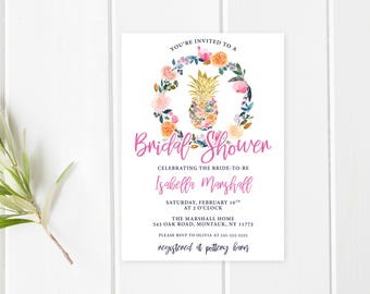 Bridal Shower Invitation, Bridal Shower Invite, Pineapple Bridal Shower Invitation, Floral Bridal Shower Invitation, Bridal Shower [734]