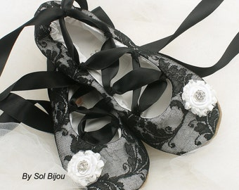Wedding Ballet Flats Shoes in Black and White, Celtic Style Flats with Black Ribbons