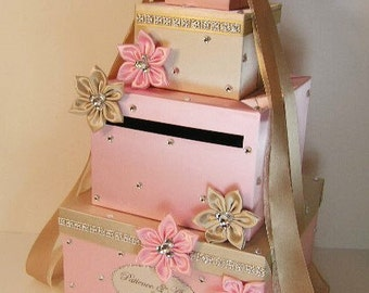 Wedding Card Box Champagne and Light Pink Gift Card Box Money Box Holder--Customize your color