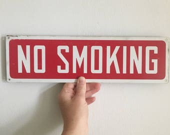 mid century no smoking sign. mid century red no smoking wall door plaque. vintage sign mancave