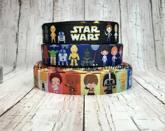 """7/8"""" - 1"""" Star Wars Inspired Space Cartoon Movie TV Characters Robot Black Blue Grosgrain  Hair Bow Ribbon  - Sold by 5 Yards"""