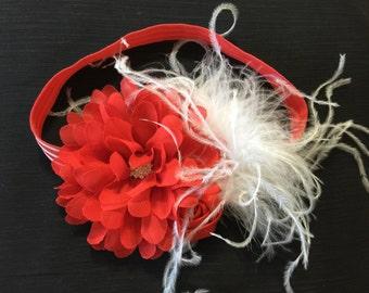 Christmas Headbands  Red White Christmas Headband Christmas Baby Headband Red White Flowers Headband Holiday Baby Headband