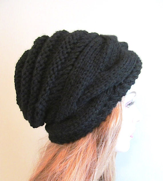 Instant Download Pdf Knitting Pattern Braided Cable Slouchy Beanies