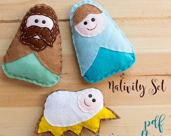 Nativity set - PDF sewing pattern, nativity ornaments, Christmas ornament, softie