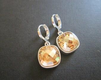 Champagne Swarovski Crystal Earrings/Bridesmaid Jewelry/Fall Wedding Earrings/Crystal Earrings/ Wedding Jewelry/Golden Shadow Earrings