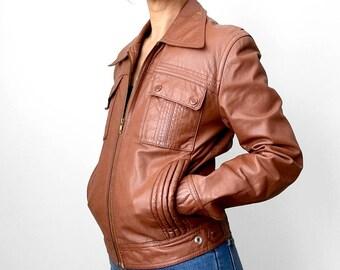Vintage, Retro, Amber-Brown, Brown, Leather, 1960's, 70's, Biker-Inspired, Jacket, Coat