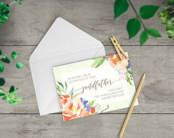 Grandfather Sympathy Card, Loss of a Loved One, personalized sympathy card, condolences card, deepest sympathy, loss of grandpa, TWO-GS202