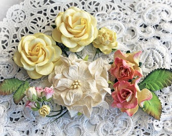 Reneabouquets Curly Roses & Gardenias Flower Set -Pink Lemonade Mulberry Paper Flowers - Set Of 15 Pieces In Organza Storage Bag