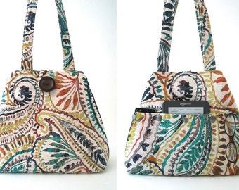 shoulder tote converts to hobo bag, shoulder bag, womens handbag, fabric purse, everyday bag ,tote with pockets, paisley bag,