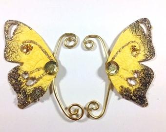 Yellow Gold Fairy Earwings Ear Wings Earcuffs Fairy Wings Butterfly Wings Costume Wings