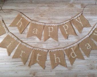 Shabby Chic Happy Birthday Burlap Banner Pendant Bunting