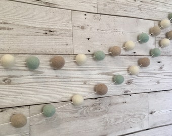 Custom felt ball garland - pom pom garland, bunting, nursery decor, home decor, wedding decoration, engagement party, anniversary, new baby