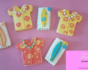 Decorated Iced Cookies Hawaiian Shirts and Surfboards Sugar Summer~1 Dozen~Frost Yourself Cookies