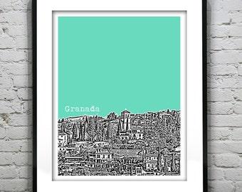 Granada Spain City Skyline Poster Art Print