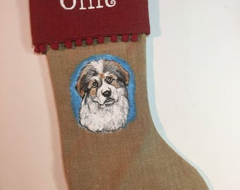 Christmas STOCKING, hand painted pet portrait, pet lover gift, christmas pet decoration