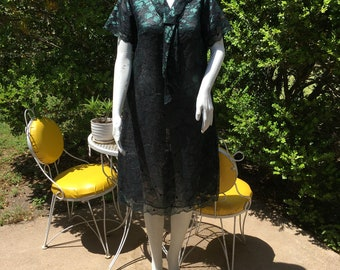 Vintage Tailored Neiman Marcus sheer Green and Black lace Dress