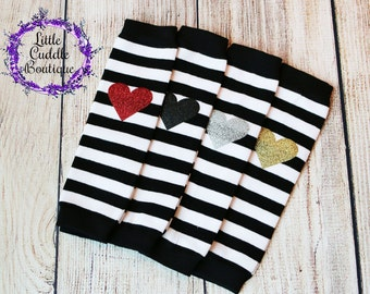 Striped Baby Leg Warmers, Black and White Leg Warmers, Heart Leg Warmers, Photo Prop, Birthday Outfit, Smash Outfit, Baby Shower Gift