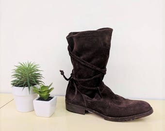 Vintage Joan & David Boots Brown Suede Ankle Boots 1980s Slouchy Boots Wrap Around Tie Ankle Boots Womens Flat Comfy Pull On Booties Size 7