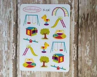 Playground Stickers, Swing Stickers, Slide Stickers, Babysitting Stickers, Summer Stickers,  S-23C.