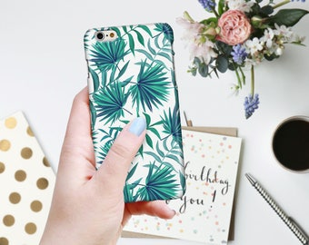 Botanical Tropical Turquoise and Teal Palm Fronds on White Phone Case for iPhone 7, 7PLUS, 6/6S, 6/6S Plus, 5/5S/SE, 5C