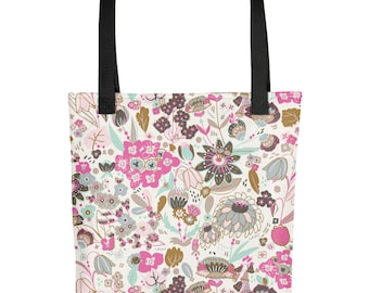 Botanical Pattern Floral Cream and Pink Tote bag 15 x 15