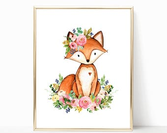 Fox Print. Fox Nursery Art. Fox Wall Art. Floral Fox Nursery Art. Woodland Nursery Girl. Girl Woodland Nursery. Woodland. Boho Nursery Art.