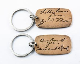Actual HANDWRITING Jewelry Signature Keychain Memorial Jewelry Personalized Jewelry CUSTOM handwriting - Double Sided Bronze Keychain