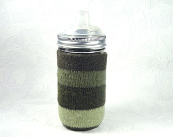 Jar Cozy - 3/4 pint size - stripes - green