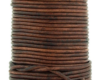 Xsotica® Brown Distressed Round Leather Cord 2mm 25 meters (27.34 yards)