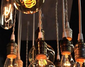 18 pendant Reclaimed Wood Edison Chandelier,. Wood Chandelier, Bare Bulb  Chandelier, Rustic Lighting,  Rustic Dining Chandelier