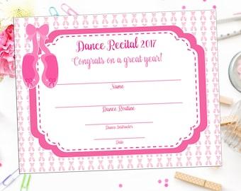 INSTANT DOWNLOAD - Dance Recital Certificate - Ballet Recital - You Print - Dance Award - Dance Recognition - Dance Studio Printable