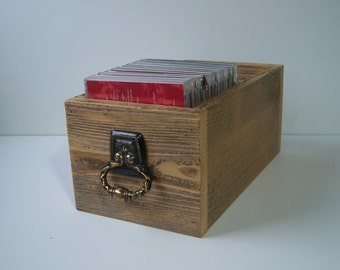 Wood Box Storage, Rustic Wood CD Storage Drawer, Home Decor Display Box, Northwest Style Home Decor