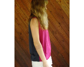 Bright Reversible Silky Tank Blouse - Vintage 80s - SMALL