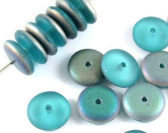 Czech Rondelle Glass Spacer Beads-FROSTED AQUA VITRAIL 8mm (20)