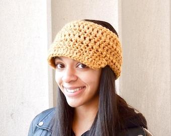 Crochet Headband, Brim Headband, Visor Headband, Ear Warmer, Mustard, Women,Teen,