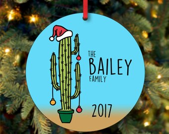 Family Christmas Ornament, Personalized Christmas Ornament, Cactus Ornament, Custom Ornament, Keepsake Ornament, 2017 Ornament  (0009)