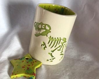 Handmade Earthenware Ceramic Lime Green Tyrannosaurus Rex Dino Mug