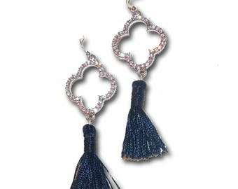 FIOCCA navy blue and silver tassel earrings