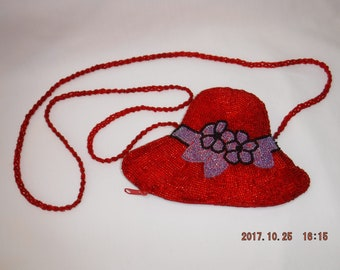 Red Hat Society beaded hat-shaped purse