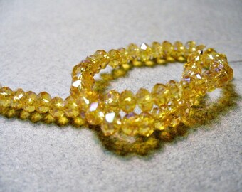 Crystal Beads Golden Champagne AB Faceted  Rondelles 4x3mm